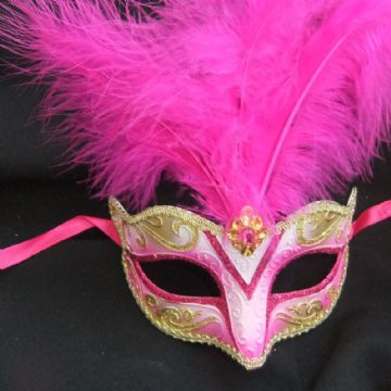 Cerise & Gold Feathered Petite Mask